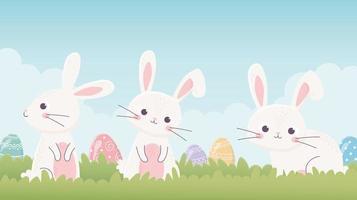 coelhinhos e ovos fofos para a celebração da páscoa vetor