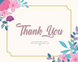 modelo de cartão de agradecimento floral elegante vetor