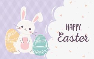 feliz celebração da bandeira da páscoa com coelho e ovos vetor