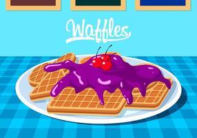 Waffles Com Blueberry Jam Vector grátis