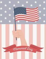 bandeira americana para pôster comemorativo do dia do memorial vetor