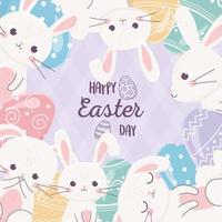 desenho de coelho e ovo de celebração do dia de páscoa vetor