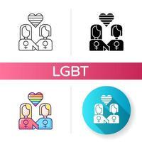 ícones de relacionamento lésbico vetor