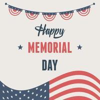 bandeira americana para celebração do dia do memorial vetor