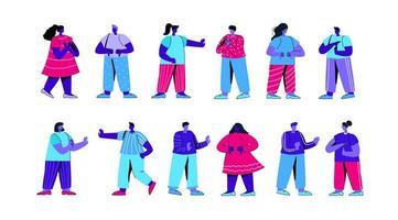 conjunto de personagens masculinos e femininos mostrando gestos negativos vetor