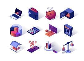 conjunto de ícones isométricos de gestão financeira vetor