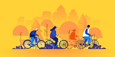pessoas andando de bicicleta vetor