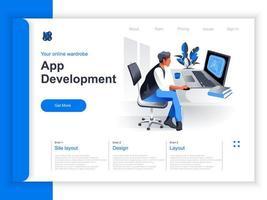 página de destino isométrica de desenvolvimento de aplicativos vetor