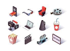conjunto de ícones isométricos de produção de filmes vetor