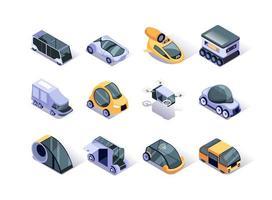 conjunto de ícones isométricos de veículos autônomos vetor