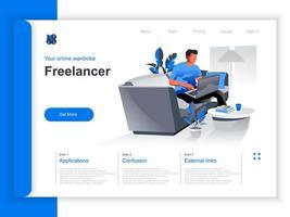 página de destino isométrica de trabalho freelance