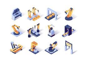 conjunto de ícones isométricos da indústria de robotização vetor