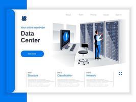 página de destino isométrica do data center vetor