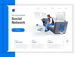 página de destino isométrica da rede social vetor