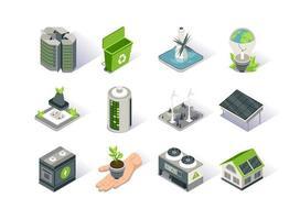 conjunto de ícones isométricos de energia limpa