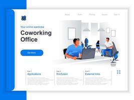 página de destino isométrica do coworking office