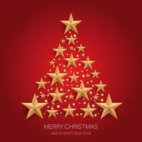 desenho de árvore de natal de estrelas douradas vetor