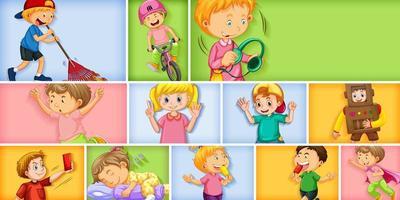 conjunto de personagens infantis diferentes em cores diferentes