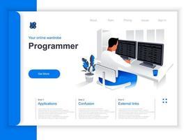 página de destino isométrica de desenvolvimento de software vetor