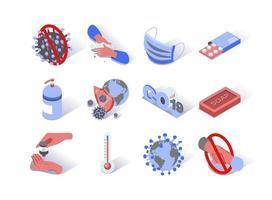 Conjunto de ícones isométricos de epidemia de vírus vetor