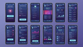 kit de design exclusivo de criptomoeda para aplicativo móvel vetor