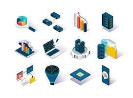 conjunto de ícones isométricos de big data vetor