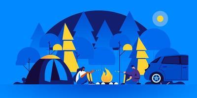 par de turistas sentados perto da fogueira cozinhando vetor
