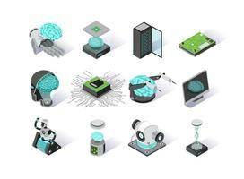 conjunto de ícones isométricos de inteligência artificial