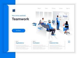 página de destino isométrica do trabalho em equipe de negócios