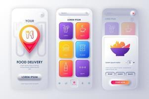 delivery de comida kit de design neomórfico