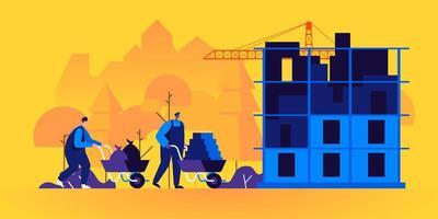 construtores trabalhando no canteiro de obras vetor