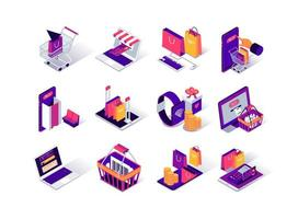 conjunto de ícones isométricos de compras online vetor