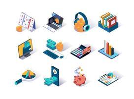 conjunto de ícones isométricos de contabilidade e auditoria vetor
