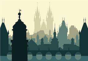 Praga Silhouette Background Vector grátis
