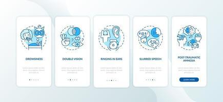 trauma na cabeça, tela azul da página do aplicativo móvel vetor