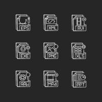 formatos de arquivo, conjunto de ícones de giz branco