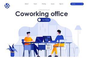 design de página de destino plana de coworking para escritório vetor