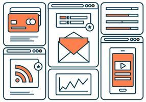 Plano Free Line Marketing de ícones do vetor