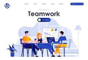 trabalho em equipe design de página de destino plana vetor