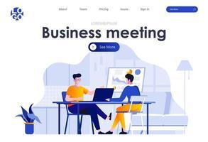 design de página de destino plana para reunião de negócios vetor