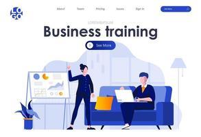 treinamento de negócios design de página de destino plana vetor