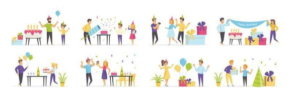 festa de aniversário infantil com pessoas em vários cenários