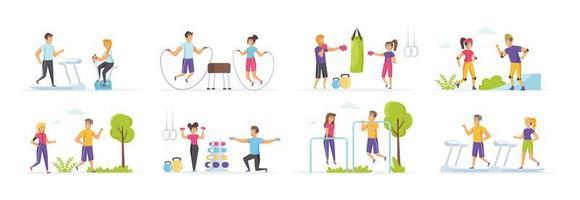 fitness ao ar livre definido com pessoas em vários cenários vetor