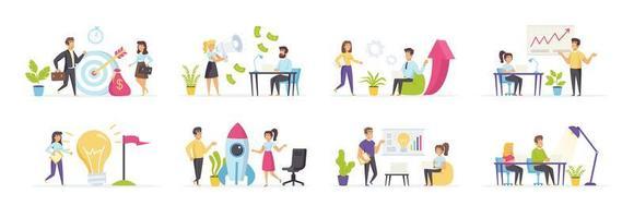 empresa startup com pessoas em vários cenários vetor