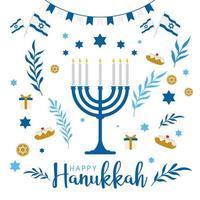 feliz hanukkah saudação design vetor