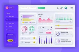 kit de interface do usuário do painel neumorfo do painel de administração