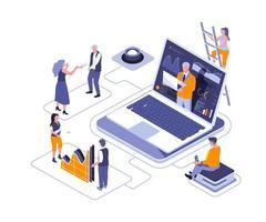 assistente de negócios virtual design isométrico vetor