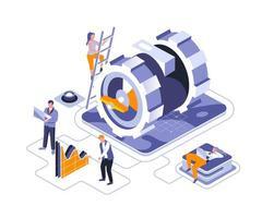 projeto isométrico do mecanismo de negócios vetor