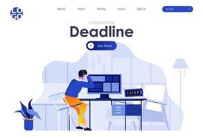 prazo de trabalho design de página de destino plana vetor