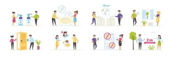 conjunto de esforços de prevenção e proteção contra coronavírus vetor